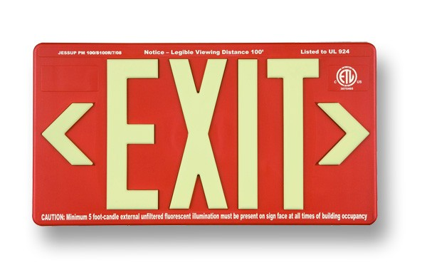 Ecō UL 924 Exit Sign, 100' Viewable Distance, Plastic Molded, Red, Double Face