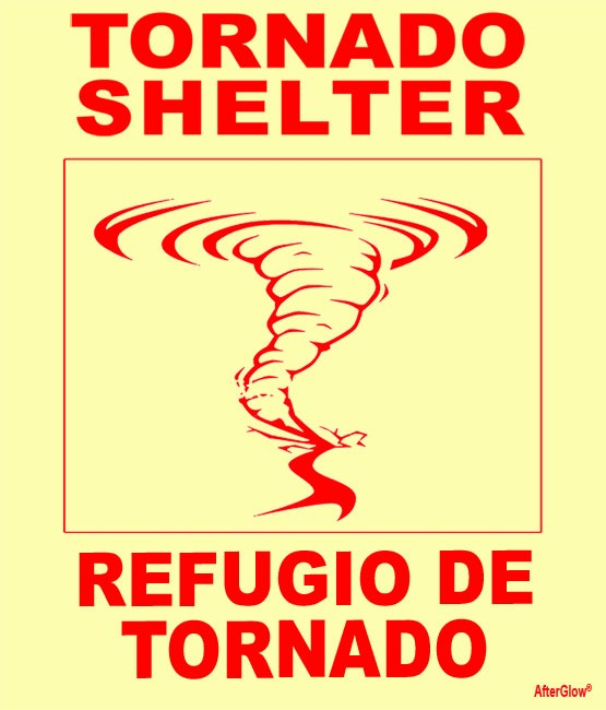 Bilingual Tornado Shelter Sign, English & Spanish, with Tornado Image