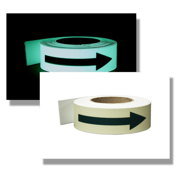 Photoluminescent Tape with Directional Green Arrows