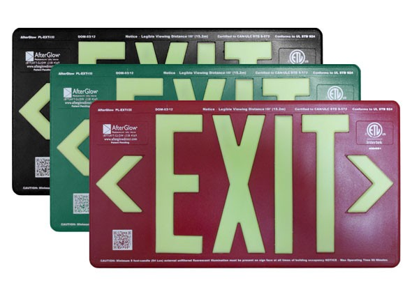AfterGlow, LLC UL 924 EXIT Sign, Black, Double Face, 100' Viewing Distance