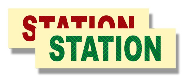 Photoluminescent STATION Sign with Retroreflective Letters