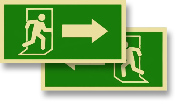 Person Arrow Exit Green Semi-Rigid