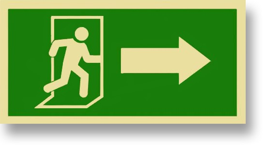 "Person Arrow Exit Right Green Semi-Rigid 12"" x 6"""