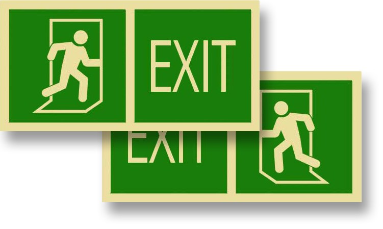 "Left or Right Green Exit Sign, 12"" x 6"""