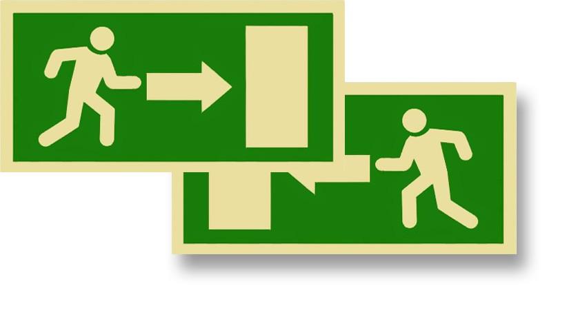 """Exit Person Door Green Semi-Rigid 12"""" x 6"""""""