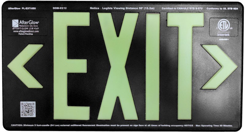 AfterGlow, LLC UL 924 EXIT Sign, Black, Single Face, 50' Viewing Distance