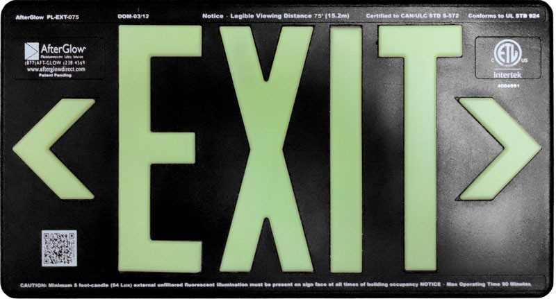 AfterGlow, LLC UL 924 EXIT Sign, Black, Double Face, 75' Viewing Distance