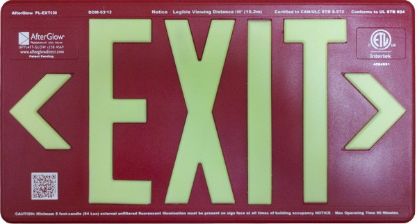AfterGlow, LLC UL 924 EXIT Sign, Red, Double Face, 100' Viewing Distance