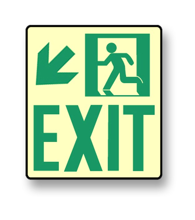 "Photoluminescent Wall Mount ""Exit"" Down Left Sign (NYC)"