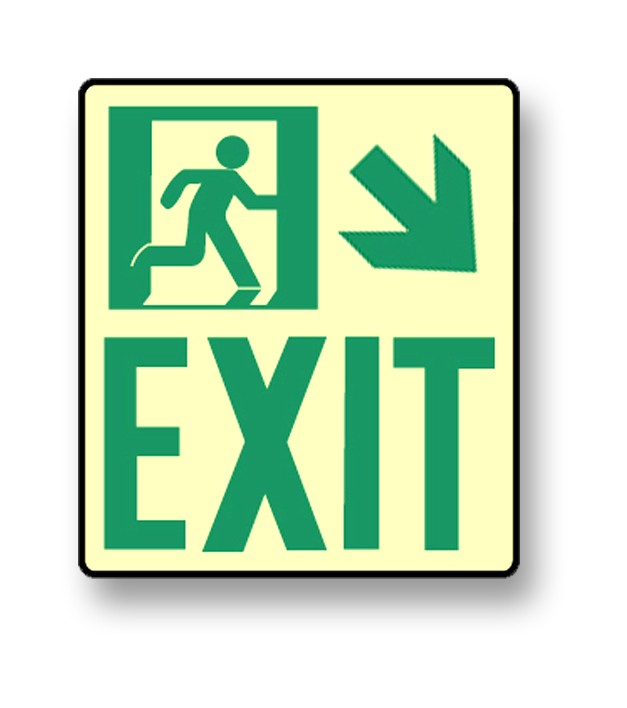 "Photoluminescent Wall Mount ""Exit"" Down Right Sign (NYC)"