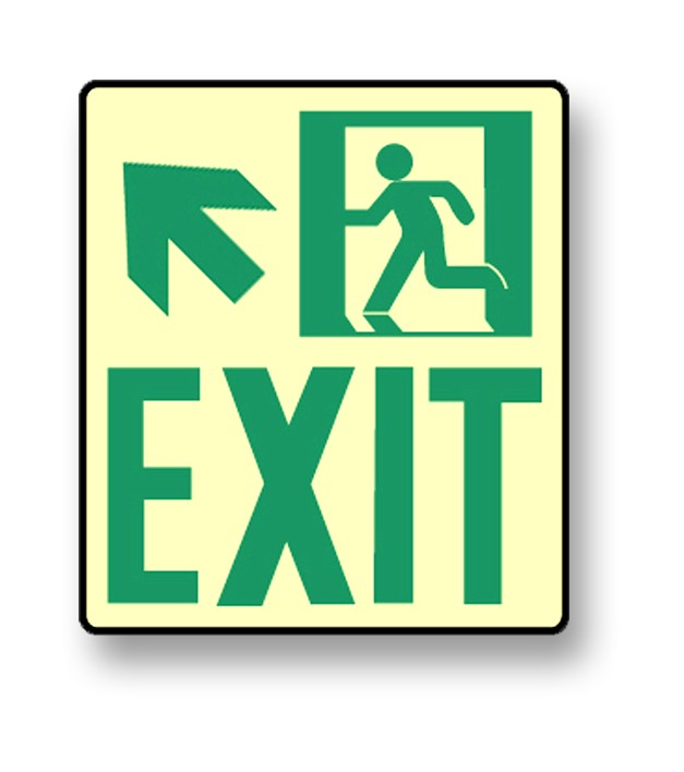 "Photoluminescent Wall Mount ""Exit"" Up Left Sign (NYC)"