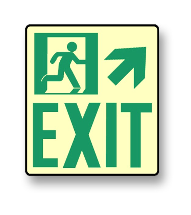 "Photoluminescent Wall Mount ""Exit"" Up Right Sign (NYC)"
