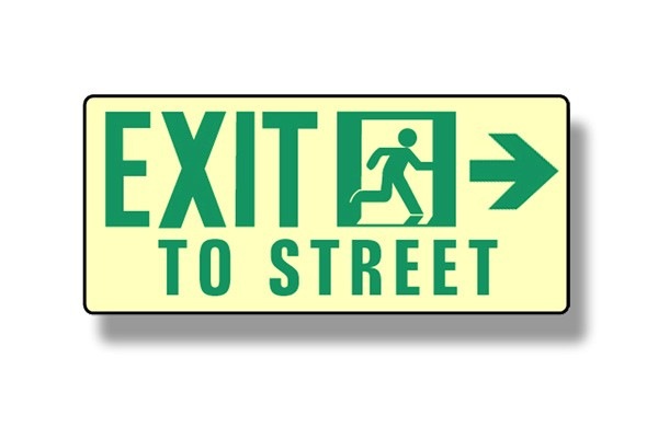 Photoluminescent Exit To Street Right Sign (NYC)