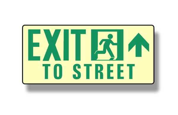 Photoluminescent Exit To Street Up Sign (NYC)