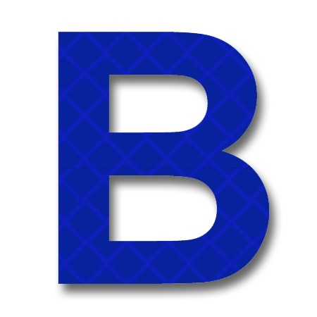 "afterglow - retroreflective 2 inch letter ""b"" - blue - package of 10"