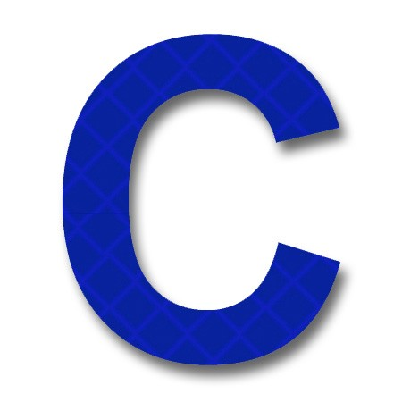 "afterglow - retroreflective 2 inch letter ""c"" - blue - package of 10"