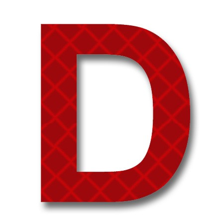 "AfterGlow - Retroreflective 2 inch Letter ""D"" - Red ... Red Letter D"