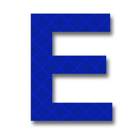 "afterglow - retroreflective 2 inch letter ""e"" - blue - package of 10"