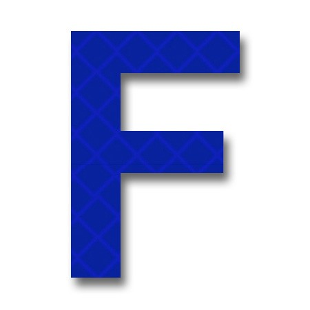 "afterglow - retroreflective 2 inch letter ""f"" - blue - package of 10"