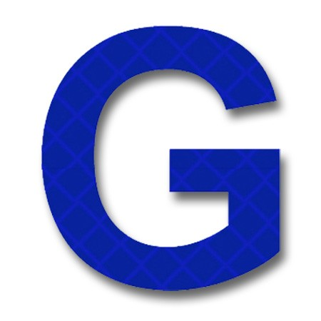 """afterglow - retroreflective 2 inch letter """"g"""" - blue - package of 10"""