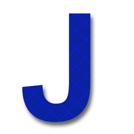 "afterglow - retroreflective 2 inch letter ""j"" - blue - package of 10"
