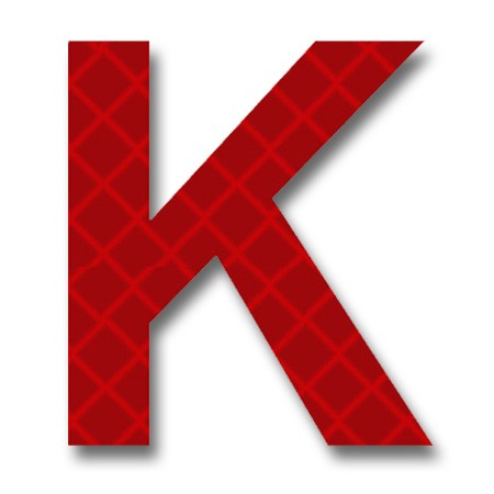 Retroreflective 2 inch Letter K - Red - Package of 10