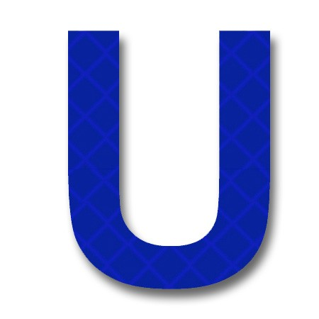 Retroreflective 2 inch Letter U - Blue - Package of 10