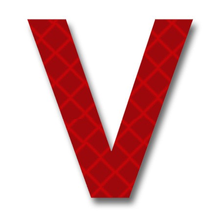 "AfterGlow - Retroreflective 2 inch Letter ""V"" - Red ..."