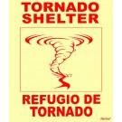 Bilingual Tornado Shelter Sign, English & Spanish, with Tornado Image