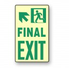 Photoluminescent Final Exit Up Left Sign (NYC)