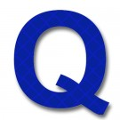 Retroreflective 2 inch Letter Q - Blue - Package of 10